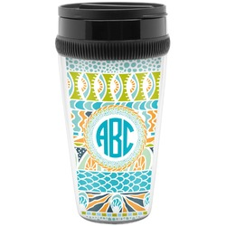 Abstract Teal Stripes Travel Mugs (Personalized)