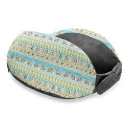 Abstract Teal Stripes Travel Neck Pillow (Personalized)