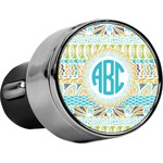 Abstract Teal Stripes USB Car Charger (Personalized)