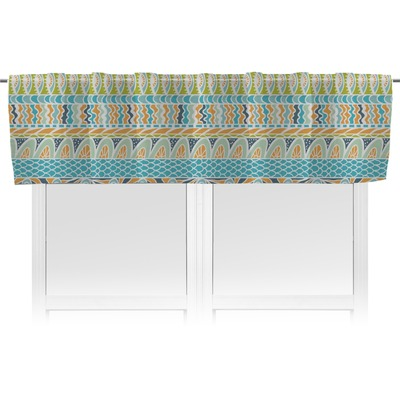 Abstract Teal Stripes Valance (Personalized)
