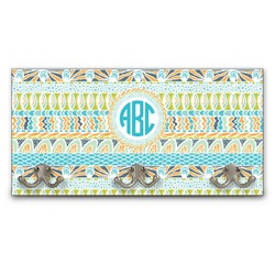 Abstract Teal Stripes Wall Mounted Coat Rack (Personalized)