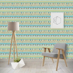 Abstract Teal Stripes Wallpaper & Surface Covering