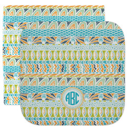Abstract Teal Stripes Facecloth / Wash Cloth (Personalized)