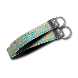 Abstract Teal Stripes Wristlet Webbing Keychain Fob (Personalized)