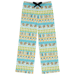 Abstract Teal Stripes Womens Pajama Pants (Personalized)
