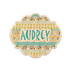 Abstract Teal Stripes Genuine Wood Sticker (Personalized)