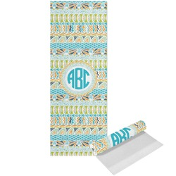 Abstract Teal Stripes Yoga Mat - Printed Front (Personalized)