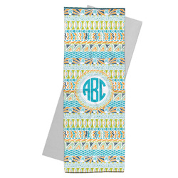 Abstract Teal Stripes Yoga Mat Towel (Personalized)