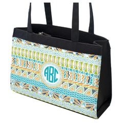 Abstract Teal Stripes Zippered Everyday Tote (Personalized)