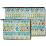 Abstract Teal Stripes Zipper Pouch (Personalized)
