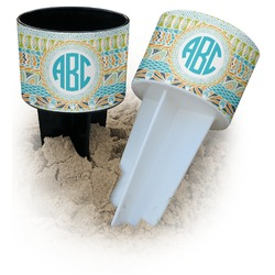 Abstract Teal Stripes Beach Spiker Drink Holder (Personalized)