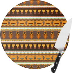 African Masks Round Glass Cutting Board - Small