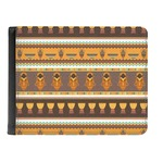 African Masks Genuine Leather Men's Bi-fold Wallet