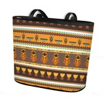 African Masks Bucket Tote w/ Genuine Leather Trim