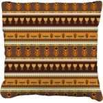 African Masks Faux-Linen Throw Pillow