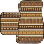 African Masks Car Floor Mats Set - 2 Front & 2 Back