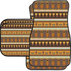 African Masks Car Floor Mats Set - 2 Front & 2 Back