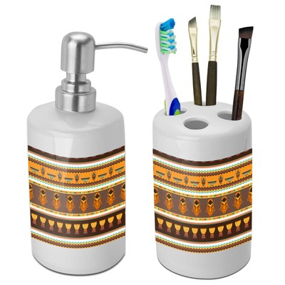 African Masks Bathroom Accessories Set (Ceramic)