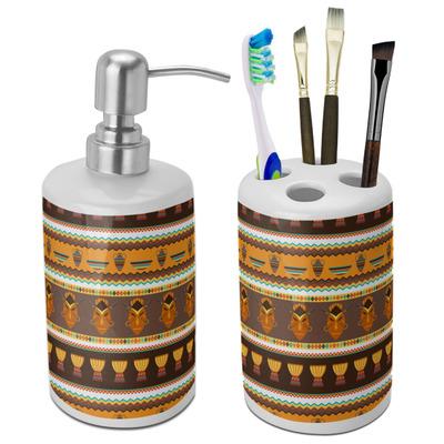 African Masks Ceramic Bathroom Accessories Set