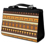 African Masks Classic Tote Purse w/ Leather Trim