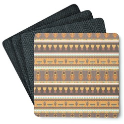 African Masks 4 Square Coasters - Rubber Backed