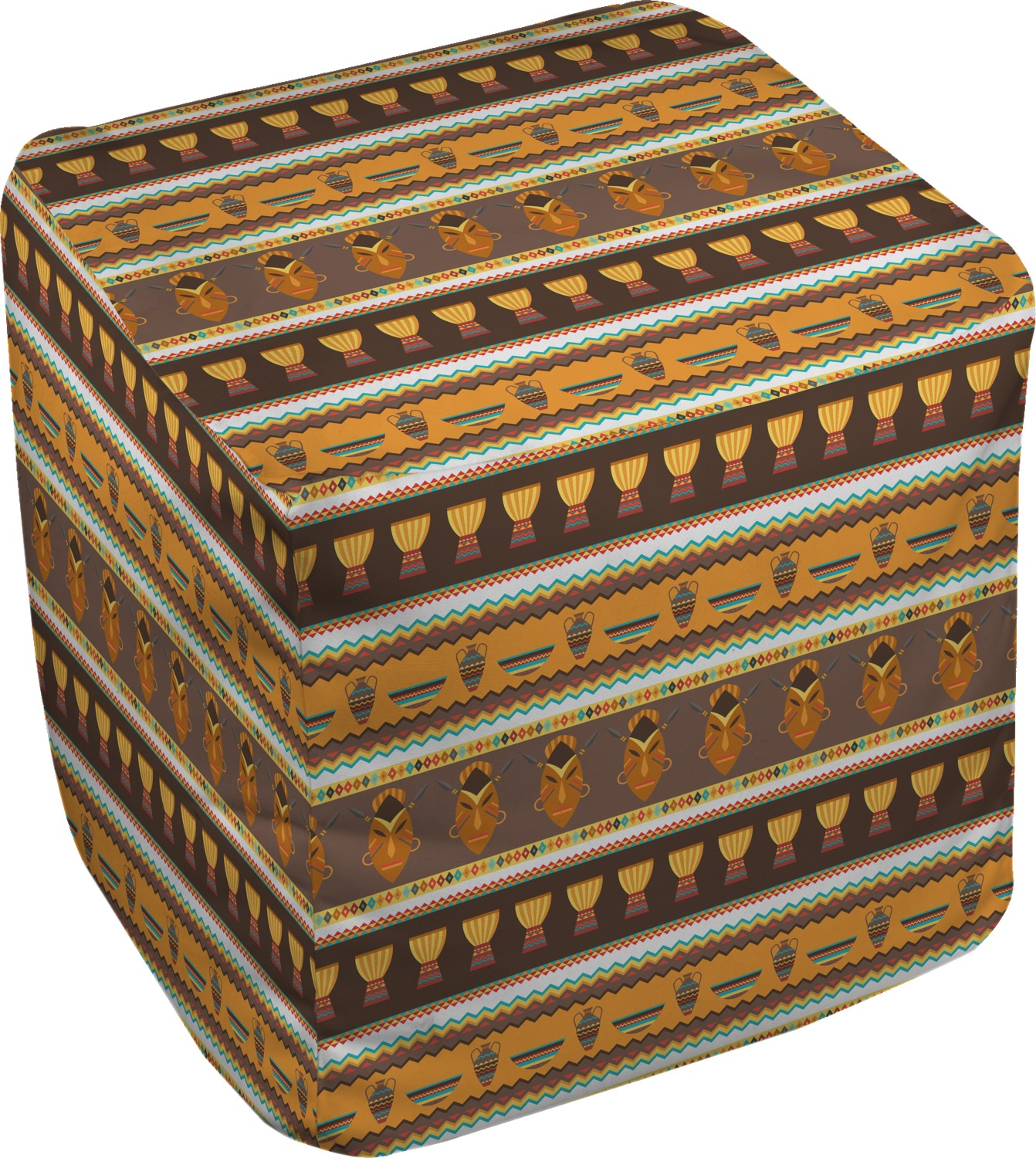 african masks cube pouf ottoman 13 you customize it. Black Bedroom Furniture Sets. Home Design Ideas