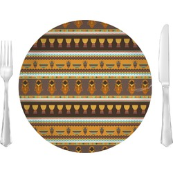 "African Masks Glass Lunch / Dinner Plates 10"" - Single or Set"