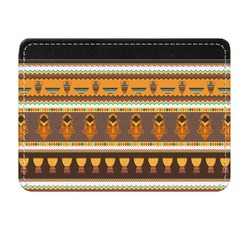 African Masks Genuine Leather Front Pocket Wallet
