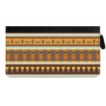African Masks Genuine Leather Ladies Zippered Wallet