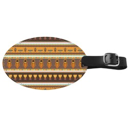 African Masks Genuine Leather Luggage Tag