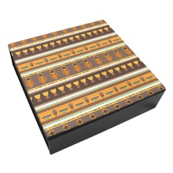 African Masks Leatherette Keepsake Box - 8x8