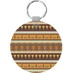 African Masks Round Keychain