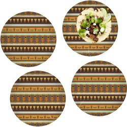 African Masks Set of 4 Lunch / Dinner Plates (Glass)