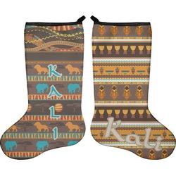 African Masks Holiday Stocking - Double-Sided - Neoprene