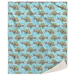 Mosaic Fish Sherpa Throw Blanket