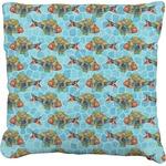 Mosaic Fish Faux-Linen Throw Pillow