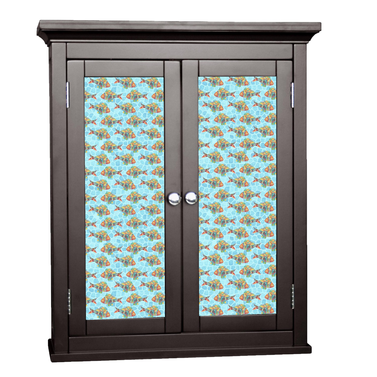 Mosaic fish cabinet decal large personalized for Kitchen cabinets lowes with free custom stickers