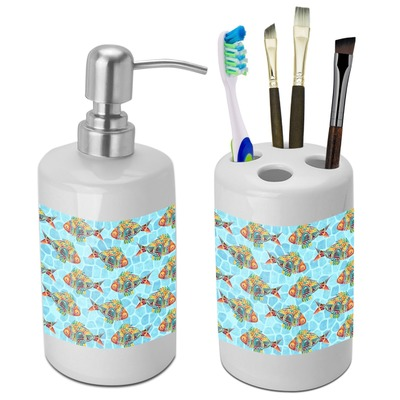 Mosaic fish bathroom accessories set ceramic for Mosaic bathroom accessories