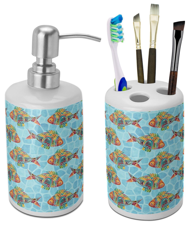 Mosaic Fish Bathroom Accessories Set Ceramic Personalized