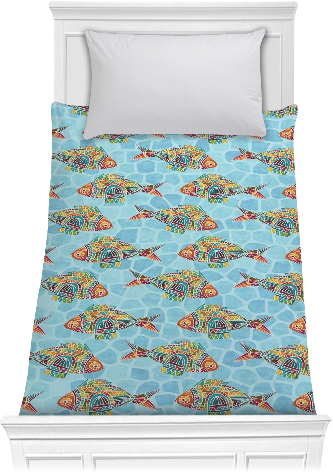 Mosaic fish comforter twin personalized youcustomizeit for Fish bedding twin