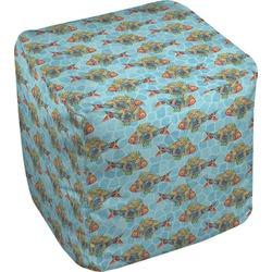 Mosaic Fish Cube Pouf Ottoman (Personalized)