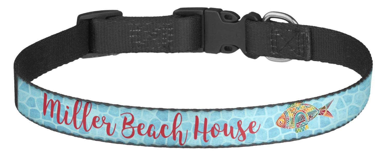 Mosaic fish dog collar medium personalized for Fish dog collar