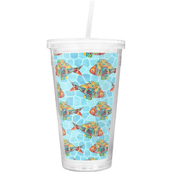 Mosaic Fish Double Wall Tumbler with Straw
