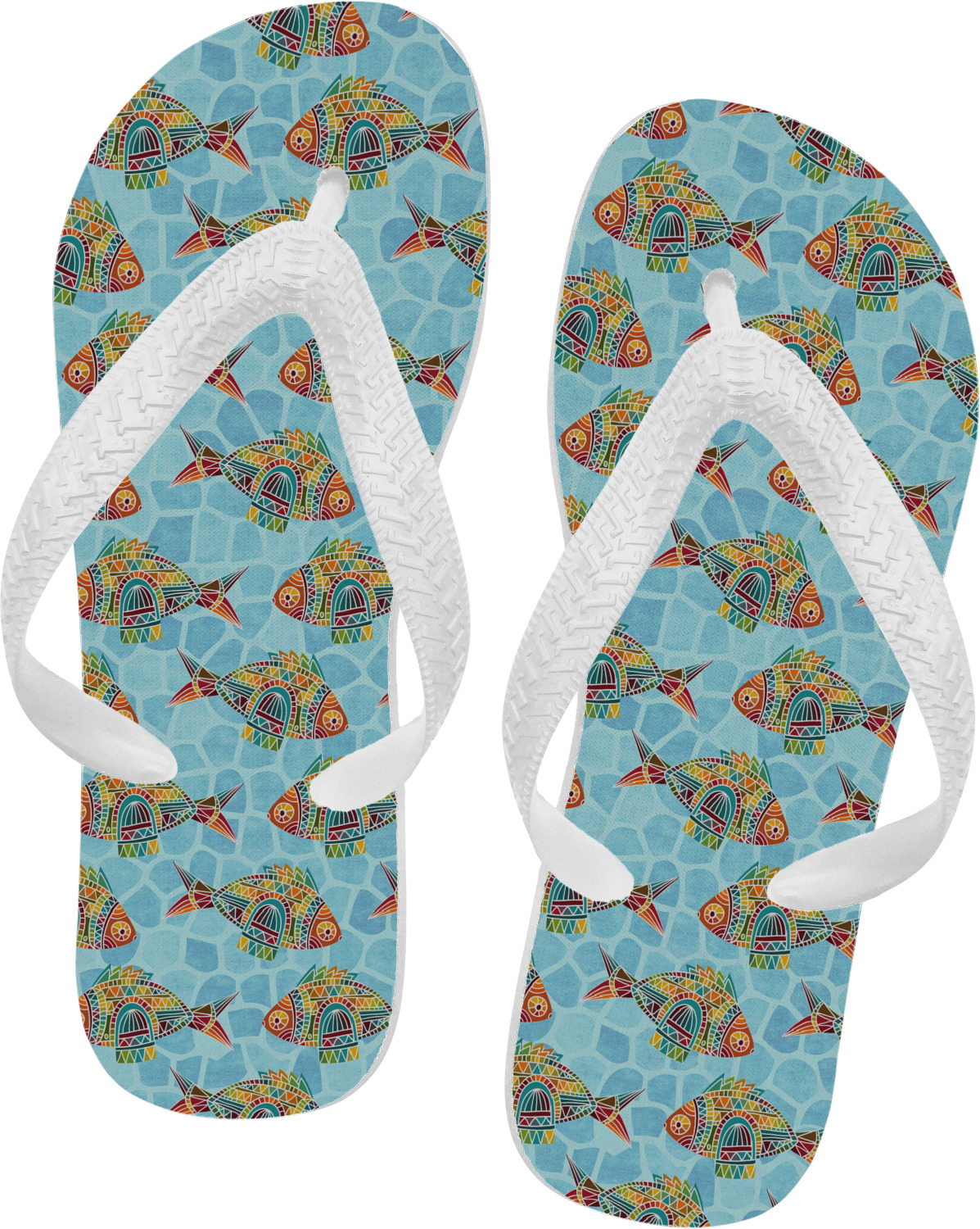 Mosaic fish flip flops xsmall personalized you for Fish flip flops