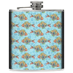 Mosaic Fish Genuine Leather Flask (Personalized)