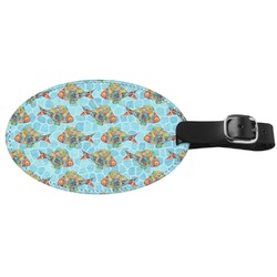 Mosaic Fish Genuine Leather Oval Luggage Tag (Personalized)