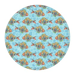 Mosaic Fish Round Desk Weight - Genuine Leather  (Personalized)