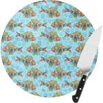 Mosaic Fish Round Glass Cutting Board