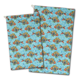 Mosaic Fish Golf Towel - Full Print