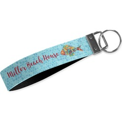 Mosaic Fish Wristlet Webbing Keychain Fob (Personalized)